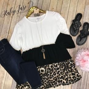 Leopard Black Tiered Babydoll Top
