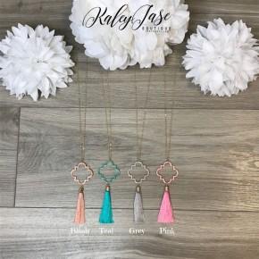 Quatrefoil Tassel Pendant Necklace #45