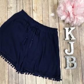 Navy Pom Pom Detail Shorts