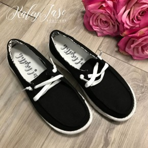 Very G Black Slide on Shoe