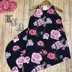 Navy/Pink Floral Halter Maxi