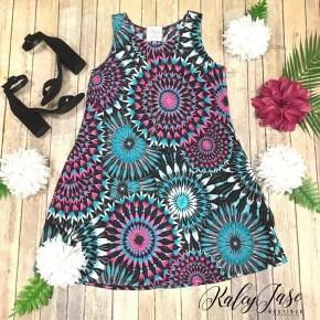 Mint/Neon Pink Sleeveless Burst Dress