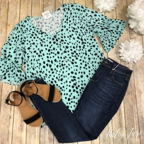 Mint Spotted Dress Top