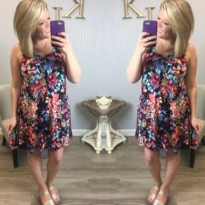 Black Floral Sleeveless Dress