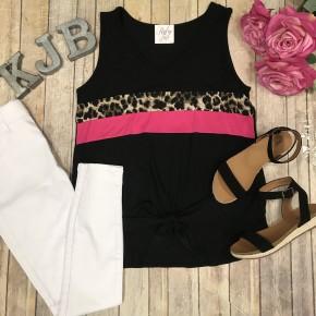 Black Leopard Fuchsia Colorblock Tie Tank