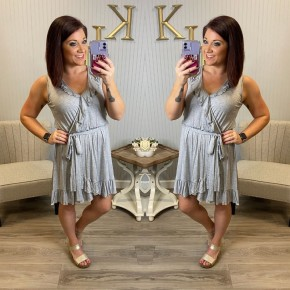 Heather Grey Ruffle Vneck Dress