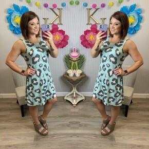 Blue Leopard Sleeveless Swing Dress