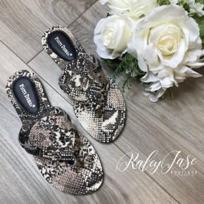Snakeskin Cutout Sandals
