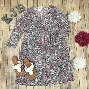 HM Grey/Pink Paisley Babydoll V Dress