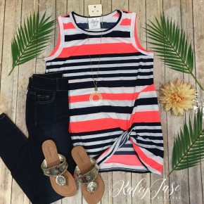 Navy & Neon Coral Stripe Twist Tank