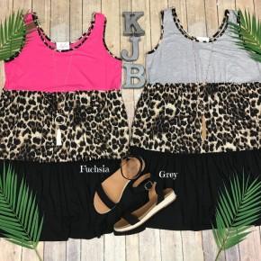 Leopard Colorblock Tiered Swing Dress