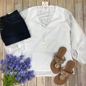 Off White Chevron Accented Top