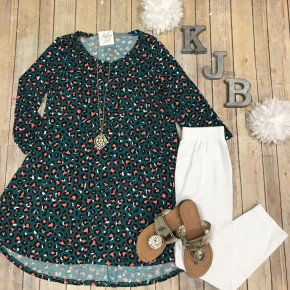 Teal/Coral Leopard Scoop Tunic
