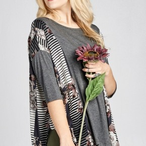 Charcoal Floral Poncho