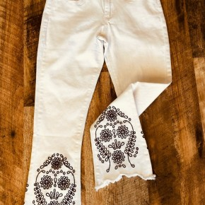 White Pants with Black Embroidery Detail