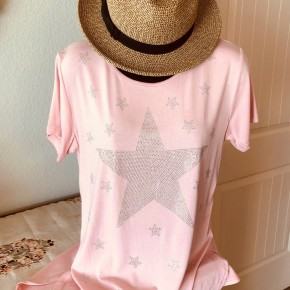 Graphic Tee with Sparkly Stars