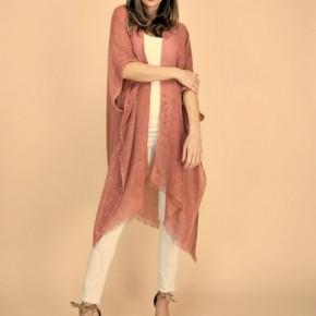 Shimmery Fringed Solid Kimono