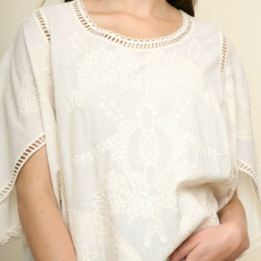 Floral Tonal Embroidery Top