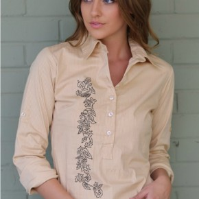 Yellow Shirt with Black Embroidery Detail