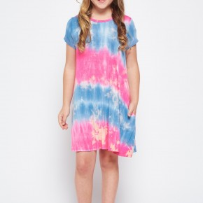 Pink and Blue Tie Dye Dress