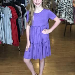 Purple Short Sleeve Babydoll Dress