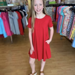 Red A Line Dress with Pockets
