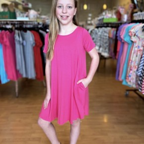 Pink A Line Dress with Pockets
