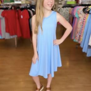 Light Blue Sleeveless A Line Dress with Pockets