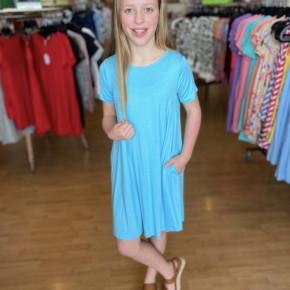 Light Blue A Line Dress with Pockets