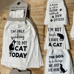 Cotton Pet Tea Towels w Hanger