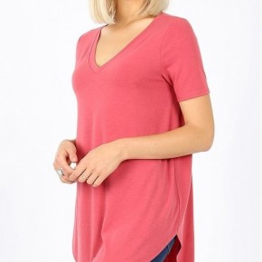 Short Sleeve V- Neck Top