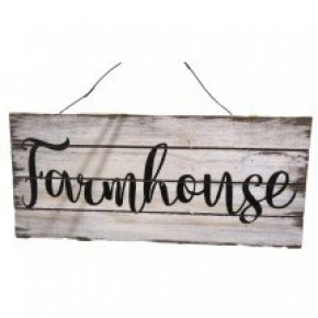 """Wood Plaque w/Wording """"Farmhouse"""" and Hanger"""