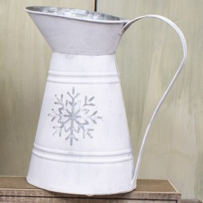 Metal Snowflake Pitcher 8.66 in. x 10.25 in.