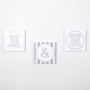 Wash & Brush Bathroom Sign - set of 3