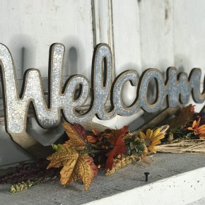 Wood & Metal Harvest Welcome Sign