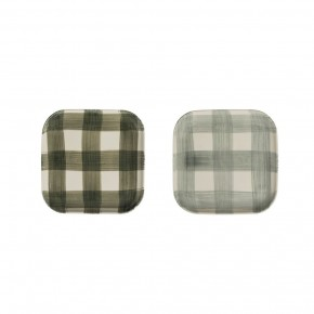 Square Stoneware Plate w/ Hand-Painted Buffalo Check, 2 Colors