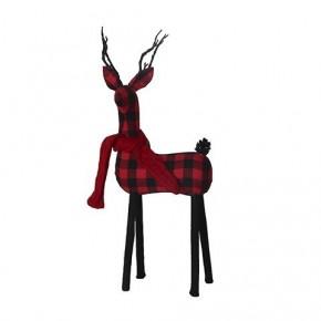 Black & Red Tabletop Buffalo Check Deer