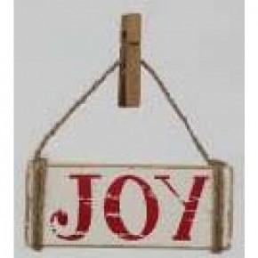 Wood Ornament w/ Clip - Joy