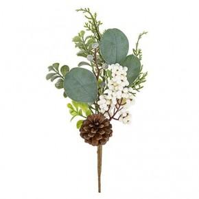 White Berry Greenery Pick W/ Pinecone