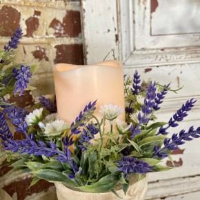 """7"""" Lavender Candle Ring W LED Candle"""