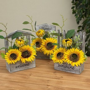 "10.5"" Sunflower in Wood Planter"