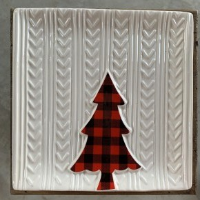 Red & Black Buffalo Check Tree Plate
