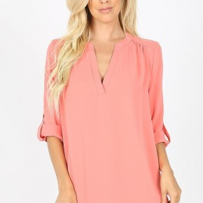 Woven Wool Henley Top- Deep Coral