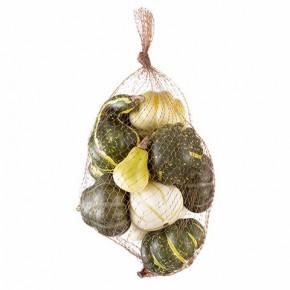 Mesh Bag of Pumpkins - Cream & Green
