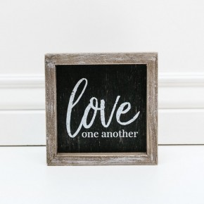 WOOD BOX SIGN - LOVE ONE ANOTHER