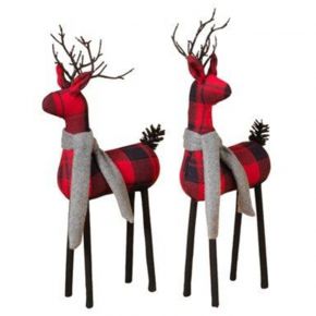 Plaid Standing Deer w/ Scarf - Assorted