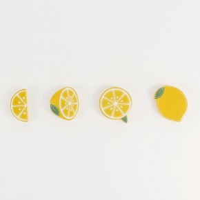 Wood Magnet, Set of 4 (Lemons)