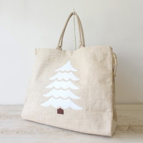 Christmas Tree Jute Tote