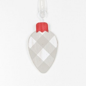 Grey Buffalo Check Bulb Ornament