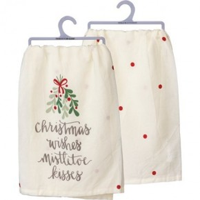 Dish Towel - Christmas Wishes Mistletoe Kisses